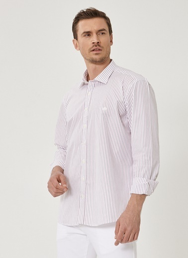 Beymen Business Slim Fit Çizgili Gömlek 4B2019200059 Beyaz